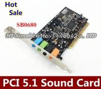 100 Original SOUND BLASTER 5 1 SB0680 PCI Sound Card For CREATIVE