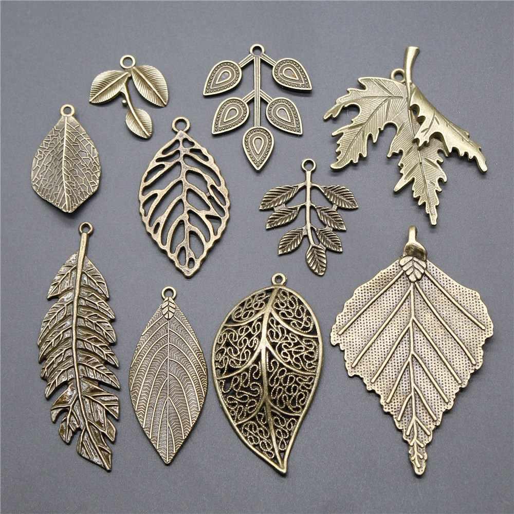 5 Pcs Big Daun Liontin Pesona Daun Pesona Perhiasan Pohon Besar Daun Pesona Antik Perunggu Warna untuk Membuat Perhiasan