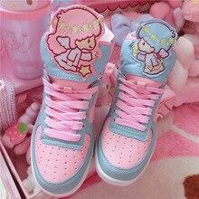 אנימה Harajuku חמוד לוליטה נשים של קטן תאומים כוכב גבוהה למעלה נעליים מזדמנים