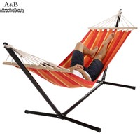 Homdox Single Outdoor Patio Stand Hammock Swing Striped With Portable Carrying Bag N40