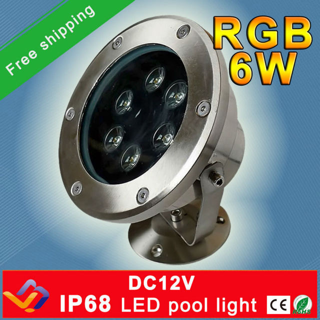 Free shipping!!! 10pcs/lot RGB LED Pool Light IP68 DC12V 6W Stainless Steel LED Underwater Light Swimming Pool Led for Fountain