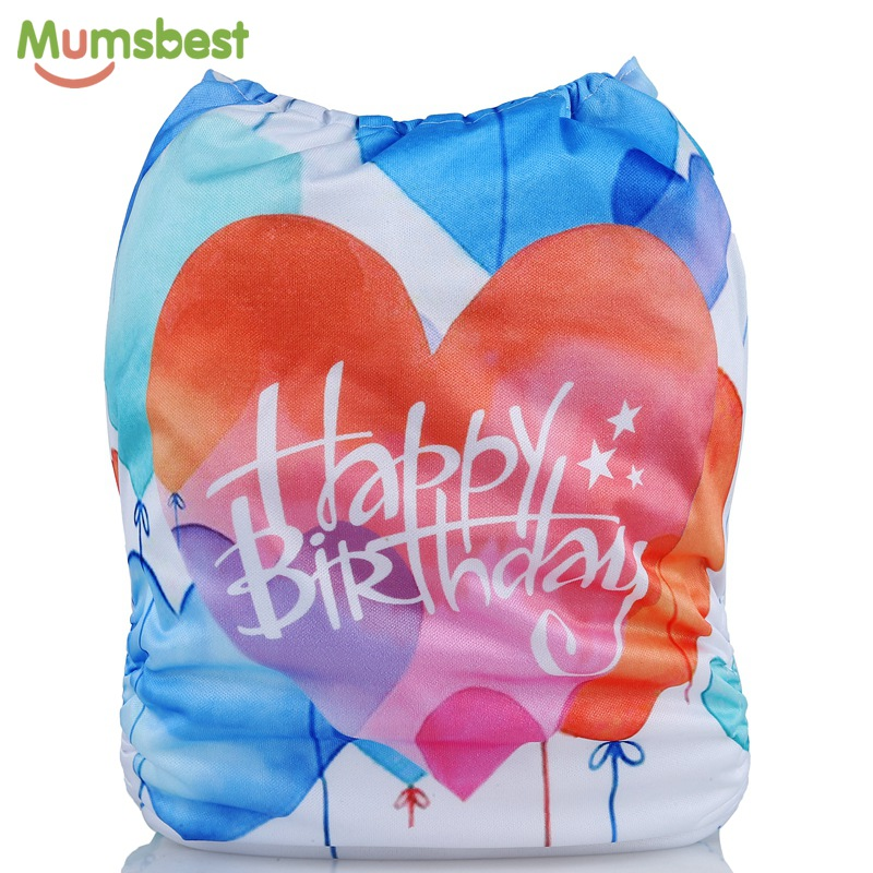 [Mumsbest] Baby Birthday Diaper Positioned Digital Cloth Diapers Cover Babies Washable Happy Birthday Gift Cloth Nappy Pocket