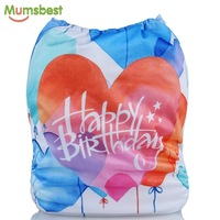 Mumsbest Baby Birthday Diaper Positioned Digital Cloth Diapers Cover Babies Washable Happy Birthday Gift Cloth
