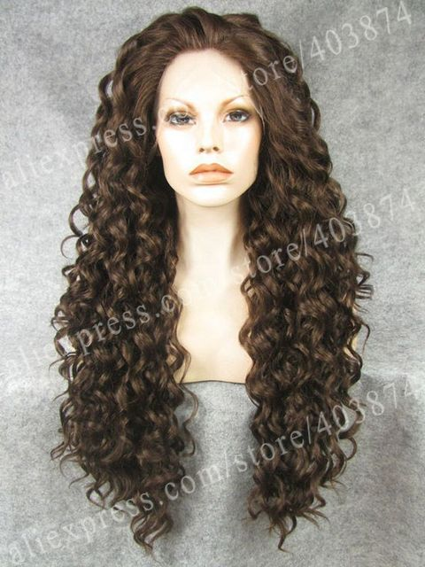 N18-6/8# High Top Quality Loose Kinky Curly Synthetic Lace Front Wigs 180% Density Brown Color Heat Resistant Kinky Curly Wig