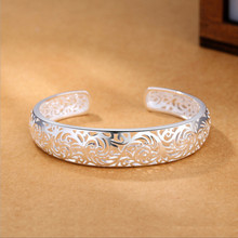 2019 new korean fashion ethinc hollow flowers bangles for women 925 sterling sliver love indian jewelry luxury brand