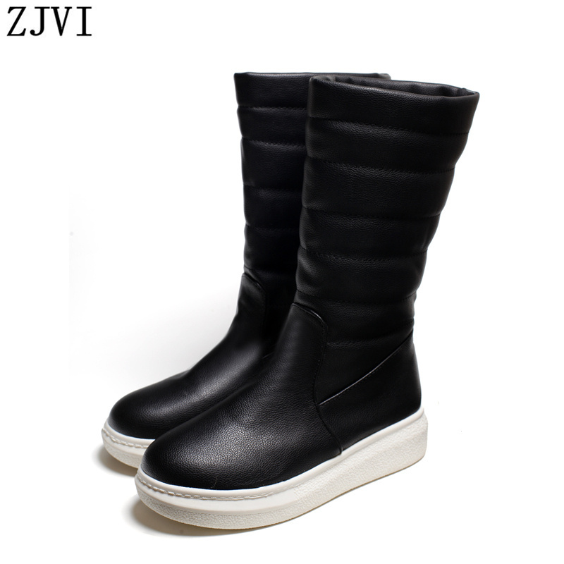 ФОТО ZJVI women Winter Mid-calf flat snow boots Fashion woman warm plush Ladies flats shoes womens female witner autumn boots