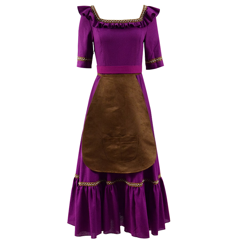 Mama Imelda New Style Cosplay Costume Dress Apron Belt Full Set Halloween Cosplay Women Purple Dress