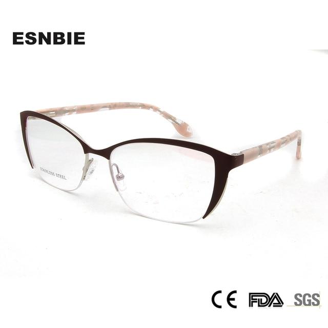 b61a8f7d7 Despesas ESNBIE Mulheres Meia Armação de Óculos Luxo Lady Cat Eye ...