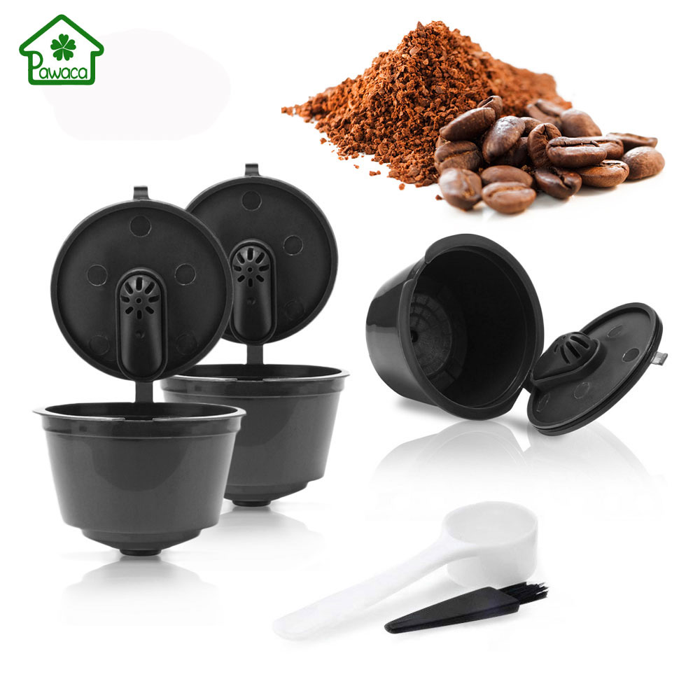 New 3Pcs Coffee Filter Baskets reusable Refillable Coffee capsule cup Dolce Gusto coffee filter Capsules cup for Home Kitchen