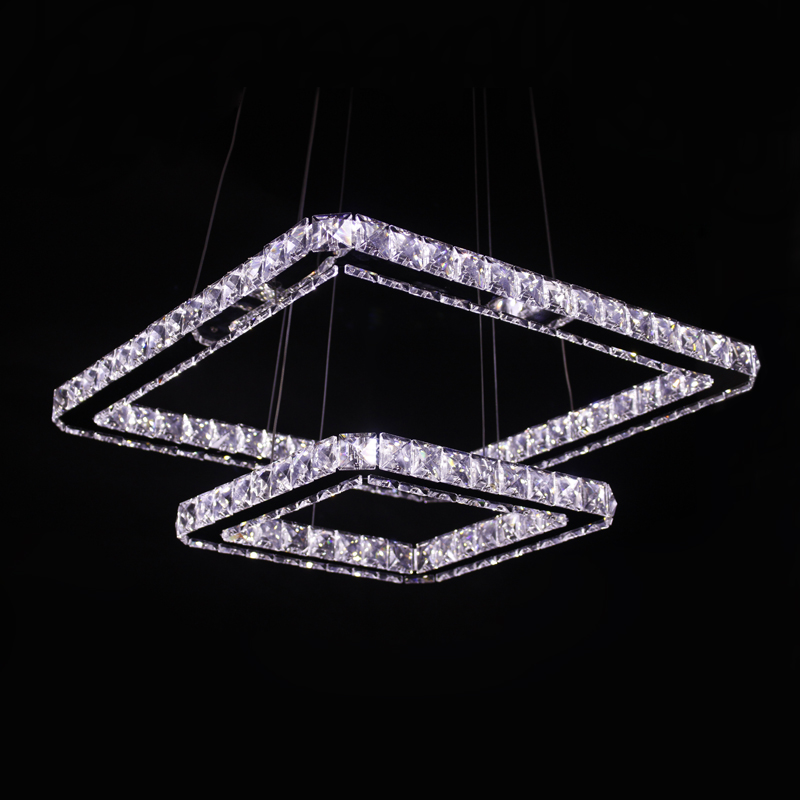 Ecolight Modern Led Pendant Light Square Rings 50+30cm Clear Crystal Stainless Steel 90-265V Suspension Lamp fashion beige woman snow boots winter square heels round toe sexy pu winter shoes for lady high heels plus size 34 43