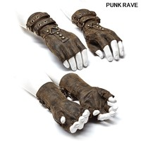 Steampunk Military Dieselpunk motocycle Gloves Gothic One Pair Mens Coffee Gray Colours Fingerless Gloves punk rave WS 252SSM