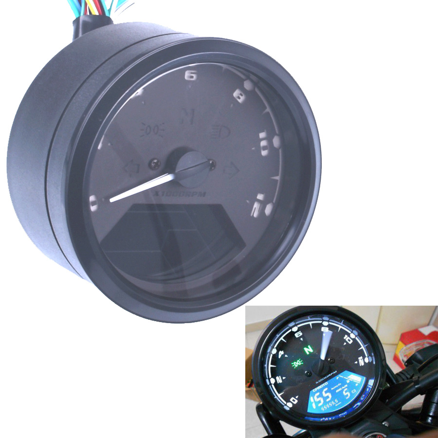 US $24 79 15% OFF|12000 RMP kmh/mph Universal LCD Digital Odometer  Speedometer Tachometer Gear indicator Motorcycle Scooter Golf Carts ATV-in
