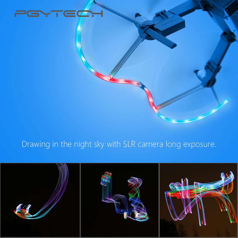 PGYTECH Presell LED Propeller Guard for DJI Mavic Pro Accessories 14 Lighting Mode Protective Propeller with LED Drone Parts carbon fiber propeller protective guard for dji phantom black 4 pcs