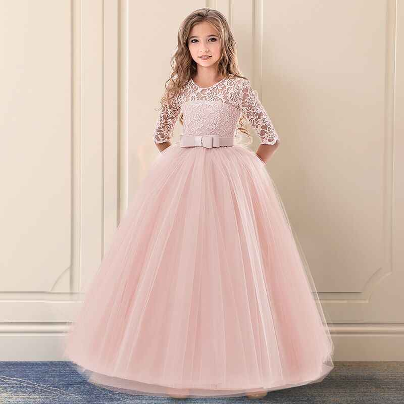 f827f426eb Flower Girl Lace Wedding Long Dress Children Princess Prom Gowns ...
