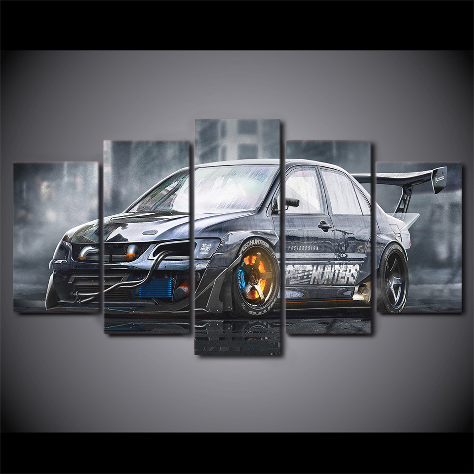 Wall Modern Painting Art Framework HD Printed Canvas Modular 5 Panel Sports Car Living Room Pictures Home Decoration Poster