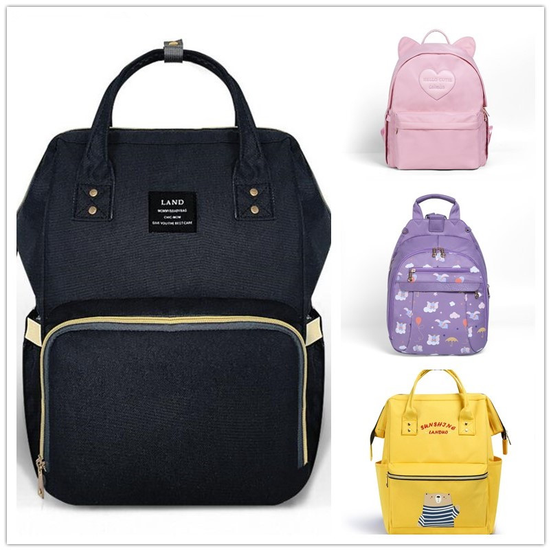 LAND Mommy Diaper Bags Mother Large Capacity Travel Nappy Backpacks with anti loss zipper Baby Nursing Bags drop ship-in Diaper Bags from Mother & Kids