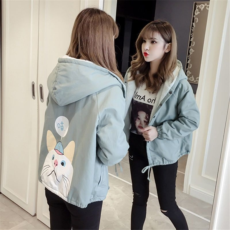 Autumn New Outwear Women Sweet Hooded Long Sleeve Cute Cat Printed Jacket Casual Solid White Pink Jackets 26