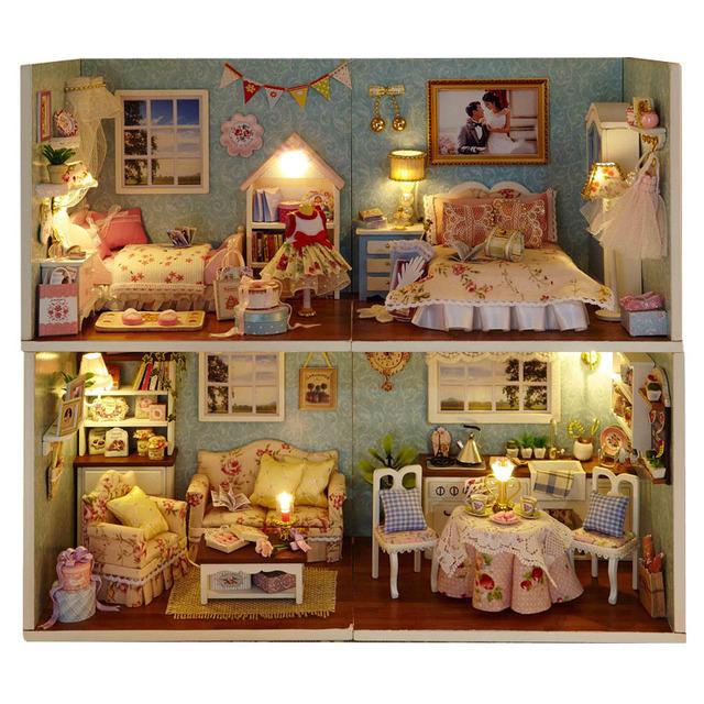 1 unidades montar DIY Kit modelo miniatura de madera casa de muñecas, juguete de la casa con muebles
