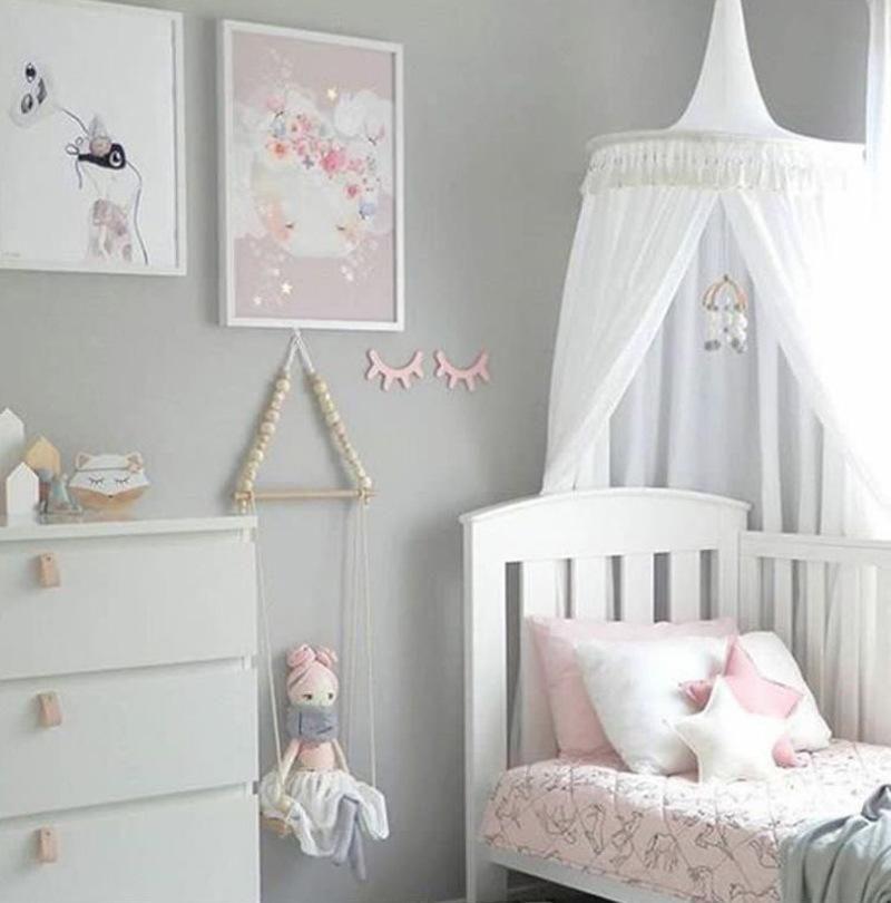 Gut Weiß/Grau/Rosa Prinzessin Bett Baldachin Bett Vorhänge Für Kinderzimmer  Decor Dome Baldachin Hängen Spielen Zelte Tipi Kinder Spielen Haus In  Weiß/Grau/Rosa ...