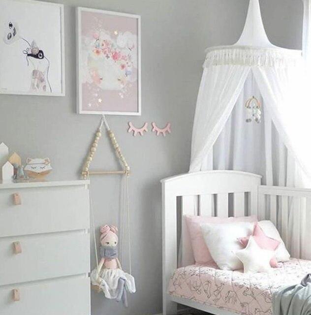 Weiß/Grau/Rosa Prinzessin Bett Baldachin Bett Vorhänge Für Kinderzimmer  Decor Dome Baldachin Hängen Spielen Zelte Tipi Kinder Spielen Haus