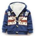 Alta calidad 2016 grueso suéter de los niños ropa de abrigo/capa, Además de terciopelo con capucha de manga larga chaqueta del muchacho de Dibujos Animados Alces Niños movimiento