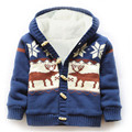 High quality 2016 thick children sweater outerwear/coat Plus velvet hooded long-sleeved boy jacket Cartoon Elk Children Movement
