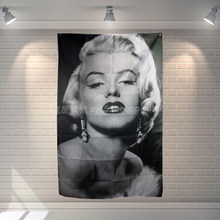 Marilyn Monroe Banner Poster Bar Cafe Hotel Tema Decorazione Wall Hanging Art Impermeabile In Tessuto Poliestere Bandiere(China)