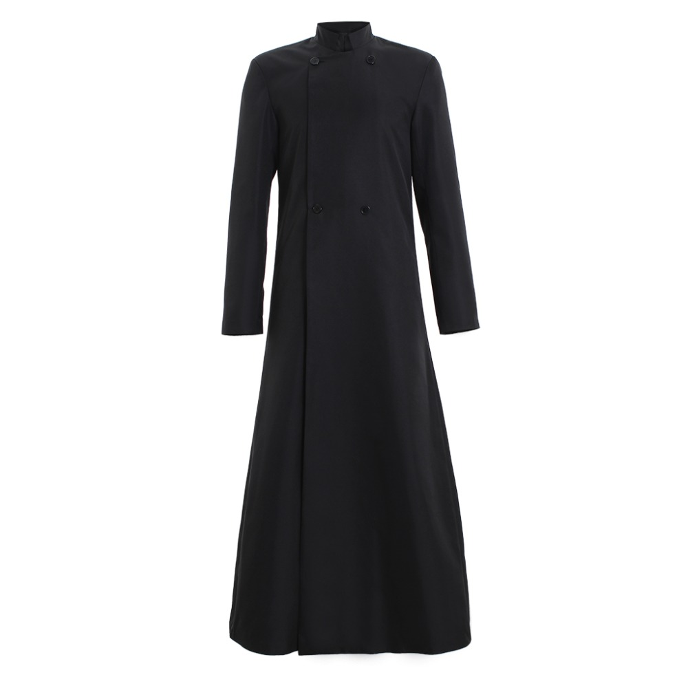Cosplaydiy Women's Style Wicca Pagan Ritual Robe Clergy Cassock Roman Orthodox Long Tabard Double Breasted Buttonn Coat L320