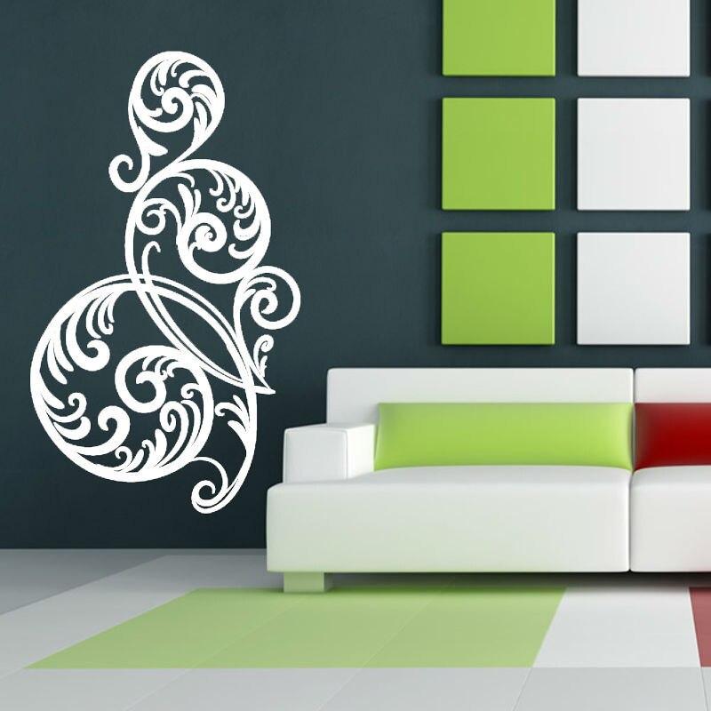 White Circular Swirl Flower Wall Sticker Living Room Vinyl