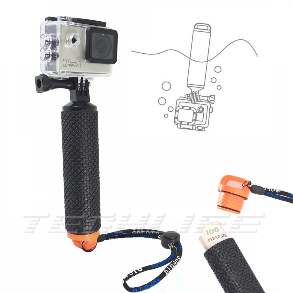 floating handle grip bobber for gopro hero 5 4 accessories hand selfie stick for sjcam sj4000. Black Bedroom Furniture Sets. Home Design Ideas