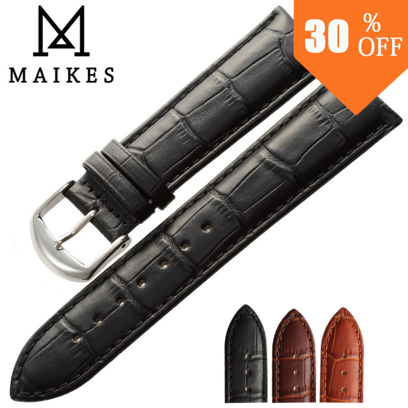 MAIKES new product Black Brown watchband genuine leather font b watch b font band 18mm 20mm
