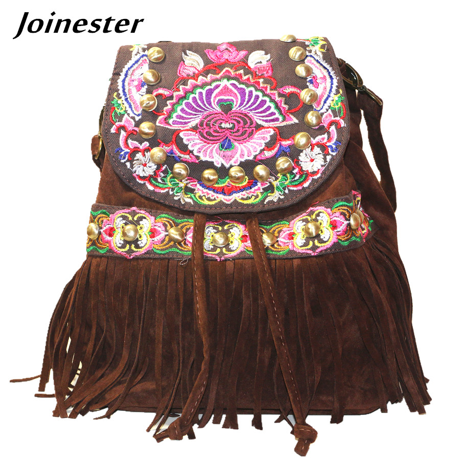 Backpack Purse For Women Bohemian Shoulder Bag Faux Suede Tassel Drawstring Satchel Travel Schoolbag Vintage Embroidered Ethnic