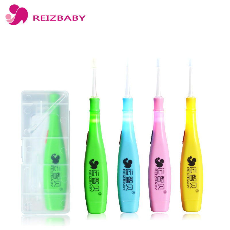 REIZBABY 2018 Hot NEW 4Pcs/box LED Flashlight Earpick Ear Wax Cleaner Tool Soft Silicone Spoon Ear Syringe for Girls and Boys