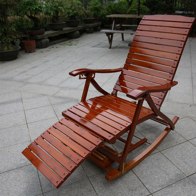 Exceptionnel Adjustable Chaise Lounges Rocking Chair Patio Lounger Chair Old Man Bamboo  Folding Chairs Summer Nap Bed