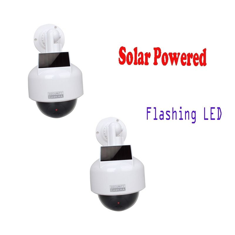 ФОТО Free Shipping!2x CCTV Dome Fake Surveillance Flashing LED Camera Security Dummy Solar Powered