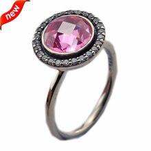 56c5eb661943 Se adapta a la joyería Europea CKK marca 100% plata esterlina 925 Anillos  para las mujeres rosa brillante legado plata Joyería f.