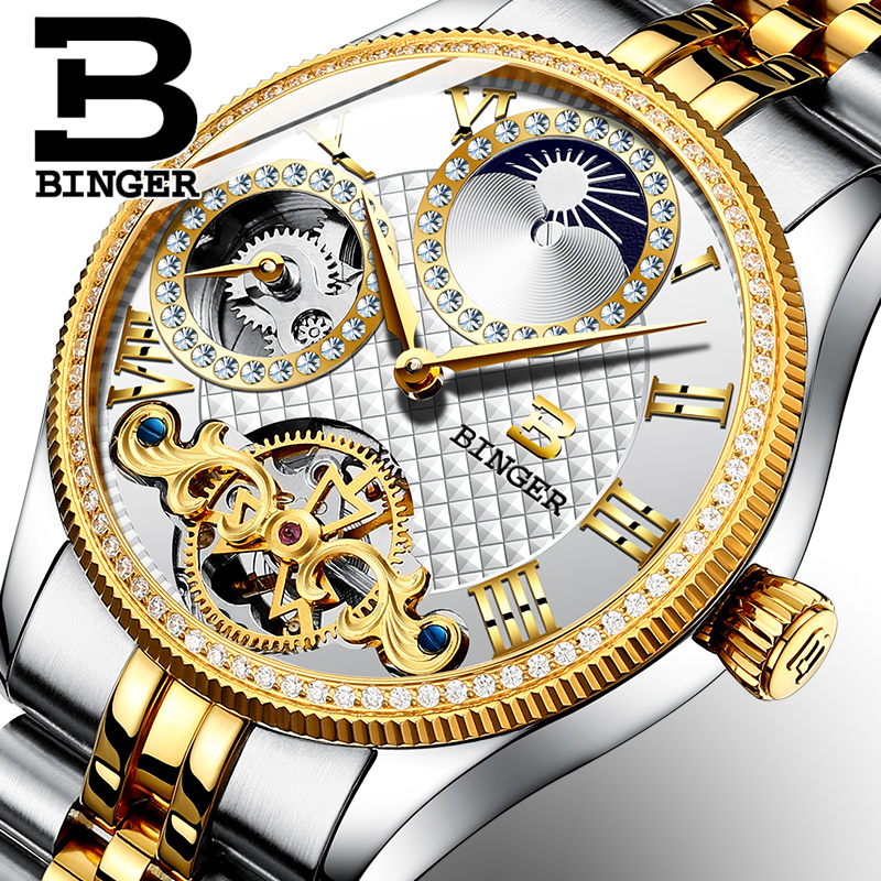 Moon Phase Automatic Wristwatches BINGER Men Mechanical Watch Tourbillon Clock  relogio masculino mens watches top brand luxury top brand luxury men watch full automatic mechanical hollow watches men wristwatches hours clock mens watches relogio masculino