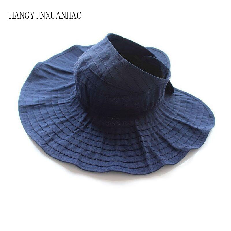 Summer Hats For Women Folding Visor Sun Hat Outdoor Beach Hat Female Empty Top Sunscreen Chapeau Femme Sombrero Mujer New(China)