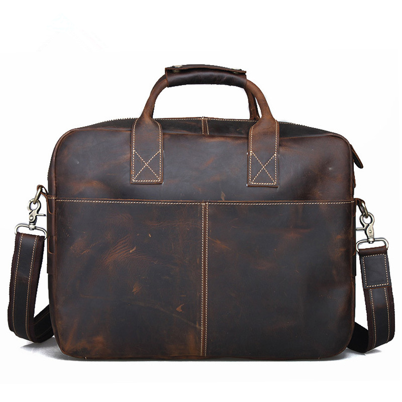 Men s Crazy Genuine leather briefcase male Vintage 15.6 inch Laptop  shoulder Messenger bag men large capacity Business handbags d4c22b0e95162
