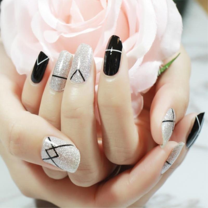 20Pcs/Set Black & White Nail sticker Full waterproof Non toxic Nail ...