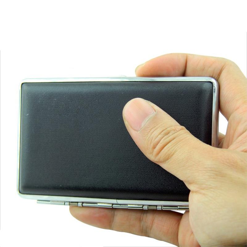 Black Leather Slim Ultrathin Cigarette Case Tobacco Box Holder For 14pcs 100mm Long Cigarette Smoking Accessory