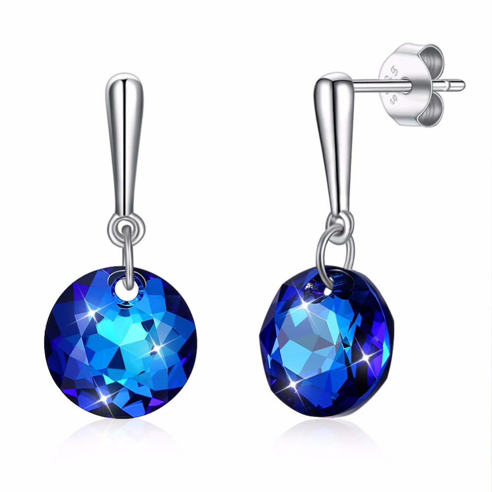 Classic Luxury Made with Swarorski Crystal Blue Real 925 Sterling Silver Fine Jewelry for Women or Girl Party Gift 2018 Hot S