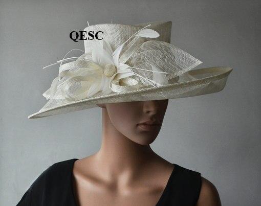 Темно синие вводной широкий платье с полями шляпка для церкви шапки с перо цветы для Ascot рас, свадьба, Кентукки Дерби вечерние. QHS063 - Цвет: Ivory