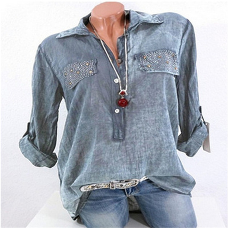 LASPERAL New Autumn Shirts Women Casual Long Sleeve Solid Color Blouses Elegant V Neck Pockets Top Femme Plus Size 5XL