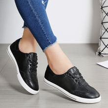 LAISUMK Women Flats Shoes Brogue Leather Lace Up Flat Casual Shoes Woman Basic White Black Flat Oxford Shoes For Women