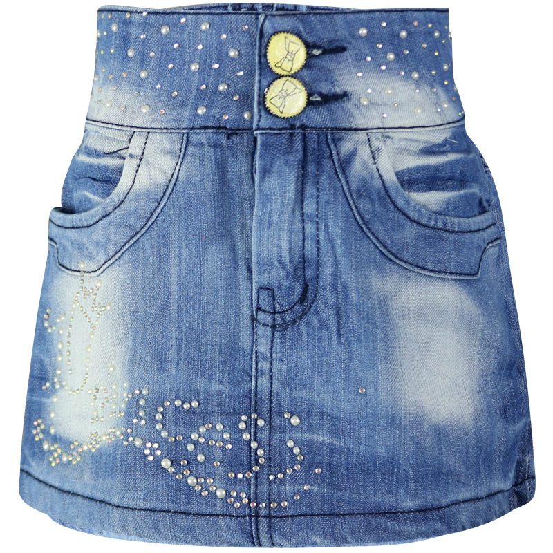 Girls Casual Crystal A-line Mini Denim Skirts 5-8Y Children washed buttons Zipper Kids skirts LL3110
