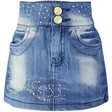 5-8Y Girls Blue rhinestone Pearl Denim Children Rosette buttons Zipper Mini Skinny Wrap Ski