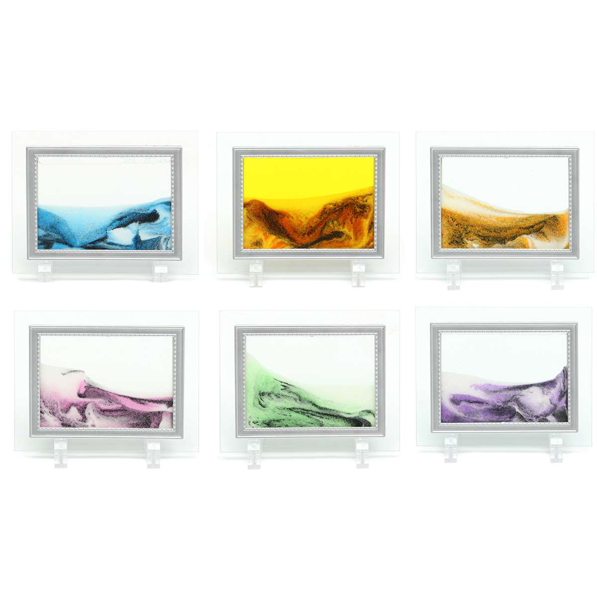 Framed Moving Sand Time Liquid Landscape Glass Picture Home Office Ornaments Decoration Accessories Craft Art Gift 13X17cm