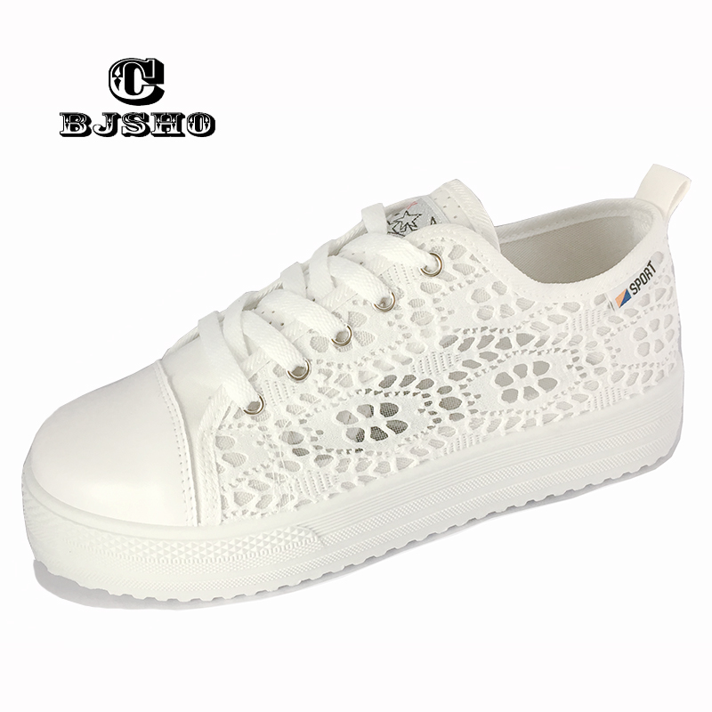CBJSHO Breathable Cutouts Lace Casual Women Shoes Summer Canvas Hollow Woman Platform Flat Shoes Female tenis feminino summer women shoes casual cutouts lace canvas shoes hollow floral breathable platform flat shoe sapato feminino lace sandals page 3