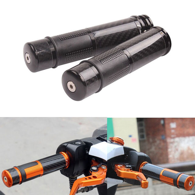 """1 pair Carbon Fiber 22mm 7/8"""" Handle Bars Hand Grips Bar Ends For R1 R6 Motorcycle Black Motorcycle"""